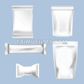 Vector set of white polyethylene foil package for sugar, bubble gum, sweets and candies mockup ready for your design - frimufilms.com
