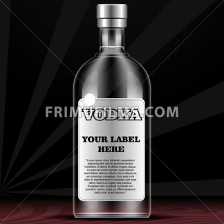 Vector vodka bottle mockup with your label here text. Silver bottle with cap over black background - frimufilms.com