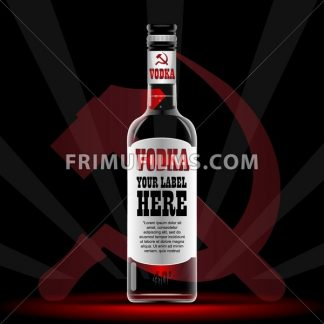 Vector vodka bottle mockup with your label here text. Silver bottle with sickle and hammer logo and cap over black background - frimufilms.com