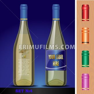 Vector wine bottles mockup with your label here text. Blue bottle and yellow wine. Red, orange, green and pink caps - frimufilms.com