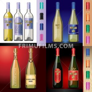 Vector wine bottles mockup with your label here text. Blue, red and white bottle, yellow and red wine. Red, orange, green and pink caps - frimufilms.com