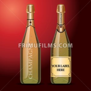 Vector wine bottles mockup with your label here text. Golden bottle, champagne wine with gold caps - frimufilms.com