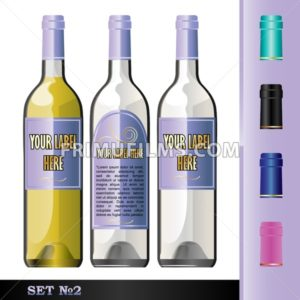 Vector wine bottles mockup with your label here text. White bottle and yellow wine. Black, green, blue and pink caps - frimufilms.com