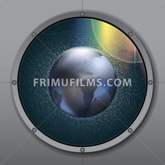 View from rocket or ship porthole on planet earth in space over a background with glowing stars. Digital vector image - frimufilms.com