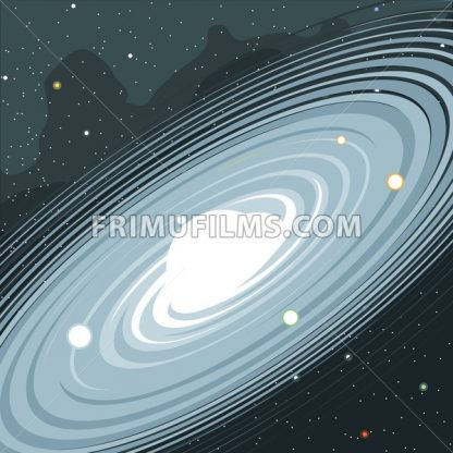 View of the galaxy in space with stars and planets. Digital vector image. - frimufilms.com