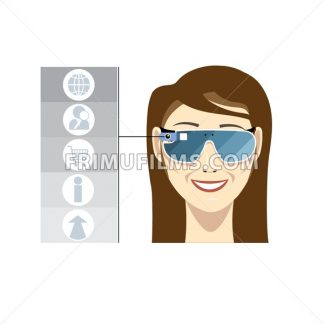 Virtual reality glasses on a smiling female head with brown hair with apps and functions icons on a white background, digital vector image - frimufilms.com