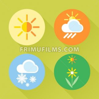 Weather set flat style. Sun, snow, clouds, flower, harvest. Digital vector image - frimufilms.com