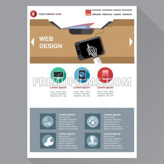 Web design agency site theme layout. Digital background vector illustration. - frimufilms.com
