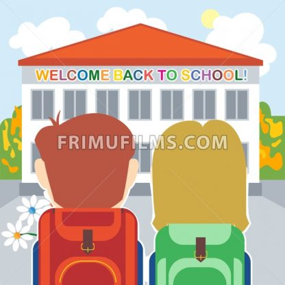 Welcome back to school card with a boy, a girl and flowers in front of the building. Digital vector image - frimufilms.com