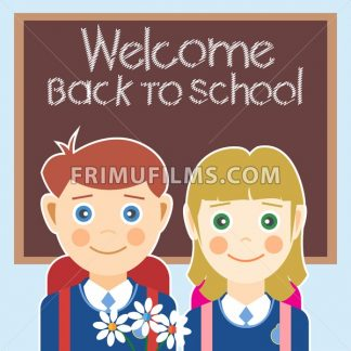 Welcome back to school card with a boy, a girl and flowers. Digital vector image - frimufilms.com