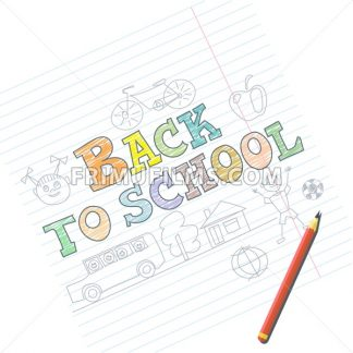 Welcome back to school card with kid sketches on notebook. Digital vector image - frimufilms.com