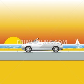 White convertible on a sunny beach road. Traveling flyer illustration. Summer Vacation Poster or Banner. Beautiful sunset at the sea. Seaside view. Yacht with birds on the sea. Vector illustration. - frimufilms.com