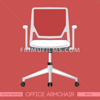 White modern office armchair over red background. Digital vector image - frimufilms.com