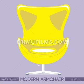 Yellow modern armchair over pink background. Digital vector image - frimufilms.com