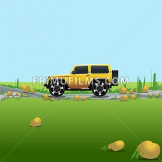 Yellow offroad car on a countryside. Auto trip. Green meadows and blue sky with no clouds. Digital vector illustration. - frimufilms.com