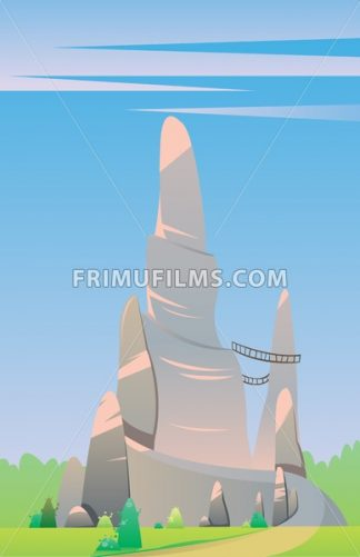 Digital vector, fairytale and fantasy big silver rock with wooden bridges on a green hill with trees, dark blue sky with pink clouds, flat style - frimufilms.com