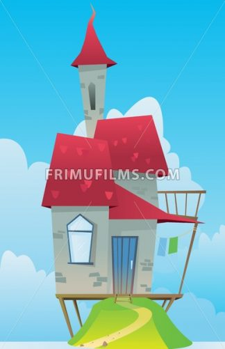 Digital vector, fairytale and fantasy castle with red roof built on a green hill, dark blue sky with white clouds, flat style - frimufilms.com