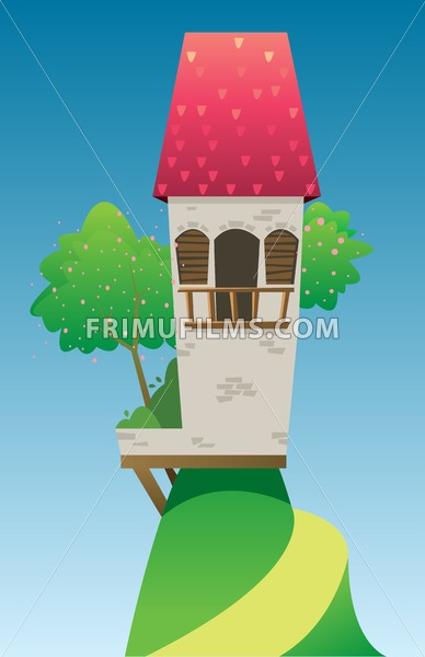 Digital vector, fairytale and fantasy castle with red roof built on a green hill with trees, dark blue sky with white clouds, flat style - frimufilms.com