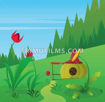 Digital vector, fairytale and fantasy road into green forest, red flowers and small pumpkin house, dark blue sky with white birds, flat style - frimufilms.com