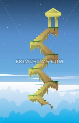 Digital vector, fairytale and fantasy stairs into the dark blue sky with golden tower in the air, flat style - frimufilms.com