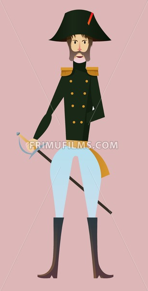 Digital vector, french napoleonic soldier character for infographics with sword, moustache and hat, flat style, pink background - frimufilms.com