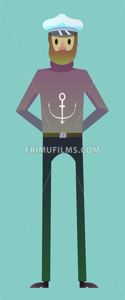 Digital vector, sailor man character for infographics, beard and red nose, flat style, blue background - frimufilms.com