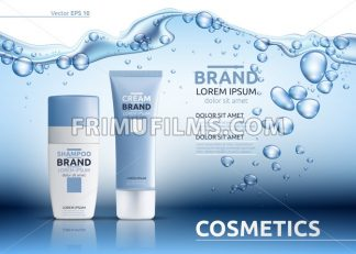 Aqua Cream Moisturizing cosmetic ads template. Hydrating facial lotion. Mockup 3D Realistic illustration. Sparkling water drops over blue - frimufilms.com