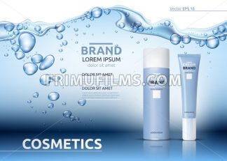 Aqua Moisturizing cosmetics ads template. Hydrating facial or body lotion. Mockup 3D Realistic illustration. Sparkling water drops over blue background - frimufilms.com
