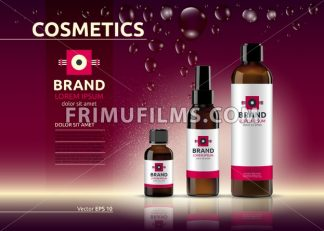 Body care cosmetic set serum and cream ads template. Hydrating facial or body lotions. Mockup 3D Realistic illustration. Sparkling deep red - frimufilms.com