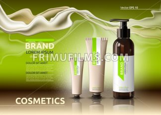 Body care cosmetic set serum and cream ads template. Hydrating facial or body lotions. Mockup 3D Realistic illustration. Sparkling greenery - frimufilms.com