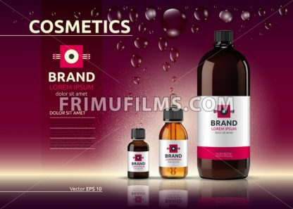 Body care cosmetic set serum and cream ads template. Hydrating facial or body lotions. Mockup 3D Realistic illustration. Sparkling shiny background - frimufilms.com