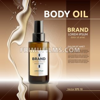 Body oil cosmetic ads template. Hydrating body lotions. Mockup 3D Realistic illustration. Liquid drops - frimufilms.com