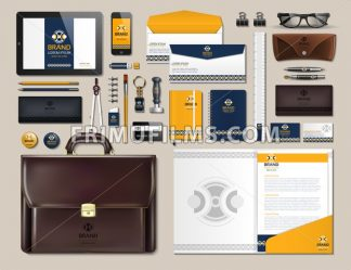 Business corporate identity items set. Vector working articles portofolio, glasses, phone, tablet, maps with brand logos. Work Stuff Stationery 3d realistic collection set - frimufilms.com