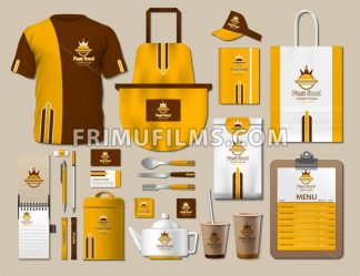 Business fastfood corporate identity items set. Vector fastfood Color promotional uniform, apron, menu, timetable, coffee cups design with logos. Work Stuff Stationery 3d realistic collection - frimufilms.com