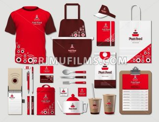 Business fastfood corporate identity items set. Vector fastfood Color promotional uniform, apron, menu, timetable, coffee cups design with logos. Work Stuff Stationery 3d realistic set collection - frimufilms.com