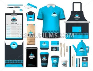 Business fastfood corporate identity items set. Vector fastfood Color promotional uniform, apron, menu, timetable, coffee cups design with logos. Work Stuff Stationery realistic set collection - frimufilms.com