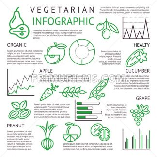 Digital black green vegetable icons set infographics drawn simple line art, onion squash pear orange apple grape carrot wallnut peas watermelon cabage, flat, organic vegetarian food - frimufilms.com