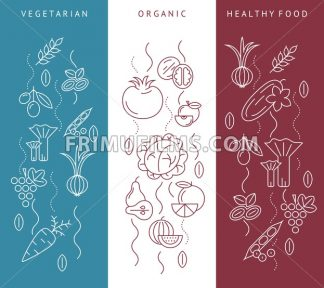 Digital blue red vegetable icons set infographics drawn simple line art pattern, onion squash pear orange apple grape carrot wallnut peas watermelon cabage, flat, organic vegetarian food - frimufilms.com