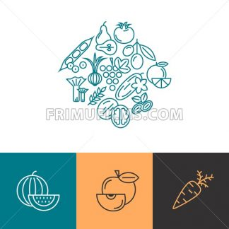 Digital blue vegetable icons set infographics drawn simple line art pattern, onion squash pear orange apple grape carrot wallnut peas watermelon cabage, flat, organic vegetarian food - frimufilms.com