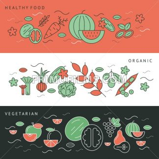 Digital green black red vegetable icons set infographics drawn simple line art pattern, onion squash pear orange apple grape carrot wallnut peas watermelon cabage, flat, organic vegetarian food - frimufilms.com