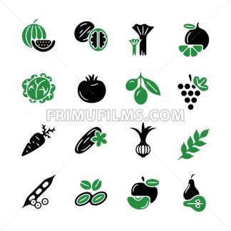 Digital green black vegetable icons set infographics drawn simple line art pattern, onion squash pear orange apple grape carrot wallnut peas watermelon cabage, flat, organic vegetarian food - frimufilms.com