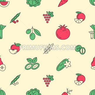 Digital green red vegetable icons set infographics drawn simple line art pattern, onion squash pear orange apple grape carrot wallnut peas watermelon cabage, flat, organic vegetarian food - frimufilms.com
