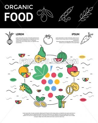 Digital green red vegetable icons set infographics drawn simple line art pattern, onion squash pear orange apple grape carrot wallnut peas watermelon cabage, flat, organic vegetarian food chain - frimufilms.com