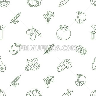 Digital green vegetable icons set infographics drawn simple line art pattern, onion squash pear orange apple grape carrot wallnut peas watermelon cabage, flat, organic vegetarian food - frimufilms.com