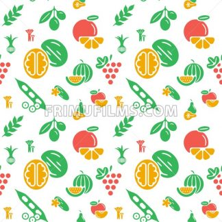 Digital green yellow vegetable icons set infographics drawn simple line art pattern, onion squash pear orange apple grape carrot wallnut peas watermelon cabage, flat, organic vegetarian food - frimufilms.com