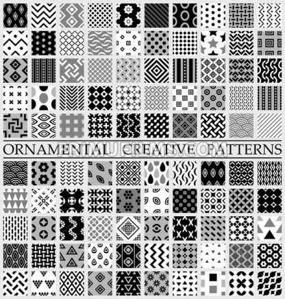 Digital vector black and white geometric universal different seamless patterns with swatch tiling endless texture - frimufilms.com