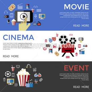 Digital vector black blue cinema icons with drawn simple line art info graphic, presentation with screen, movie and mobile phone elements around promo template, flat style - frimufilms.com