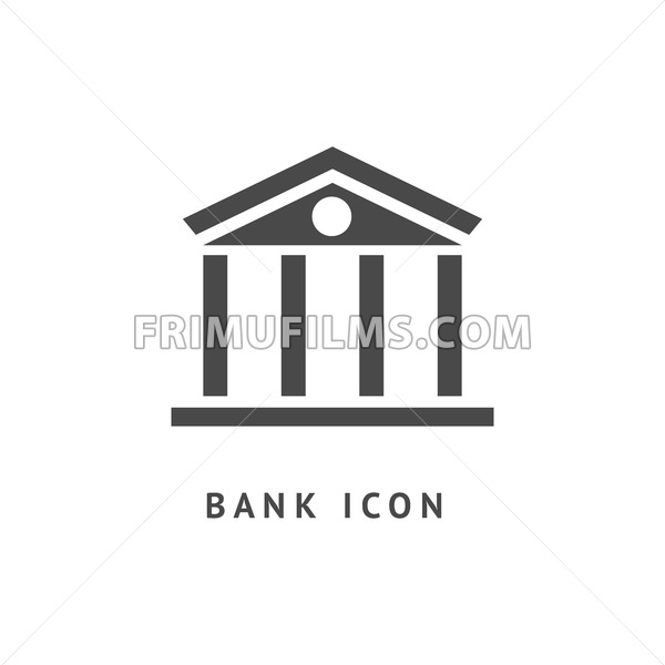 Digital vector black business bank building icon with drawn simple line art, flat style - frimufilms.com