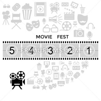 Digital vector black cinema icons with drawn simple line art info graphic, presentation with screen, movie fest and old camera elements around promo template, flat style - frimufilms.com