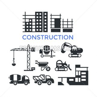 Digital vector black construction building tracks icons with drawn simple line art info graphic, presentation with crane, grout, excavator and cement elements around promo template, flat style - frimufilms.com